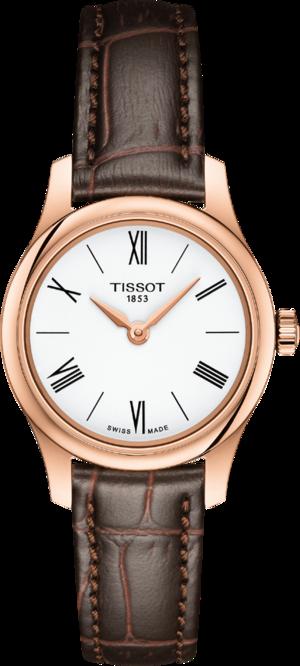 Damenuhr Tissot Tradition mit weißem Zifferblatt und Rindsleder-Armband