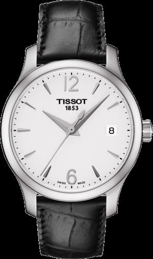 Damenuhr Tissot Tradition mit weißem Zifferblatt und Kalbsleder-Armband