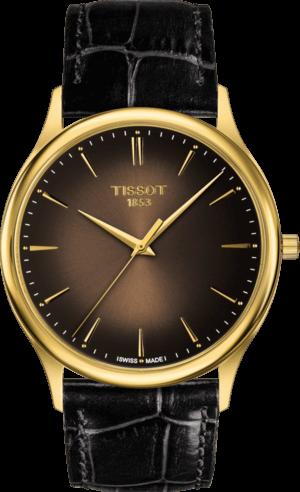 Herrenuhr Tissot Excellence Quartz Gent mit braunem Zifferblatt und Armband aus Kalbsleder mit Krokodilprägung