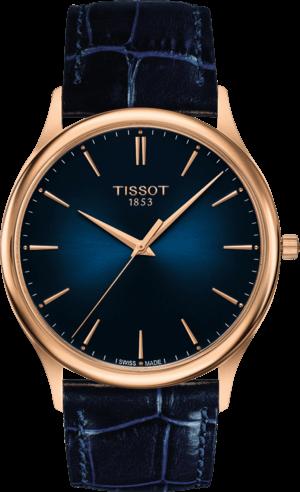 Herrenuhr Tissot Excellence Quartz Gent mit blauem Zifferblatt und Armband aus Kalbsleder mit Krokodilprägung