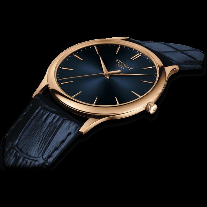Herrenuhr Tissot Excellence Quartz Gent mit blauem Zifferblatt und Armband aus Kalbsleder mit Krokodilprägung bei Brogle