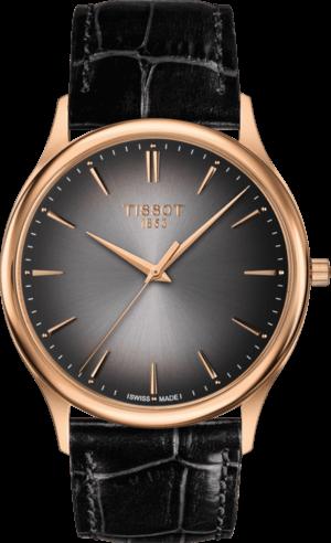Herrenuhr Tissot Excellence Quartz Gent mit grauem Zifferblatt und Armband aus Kalbsleder mit Krokodilprägung