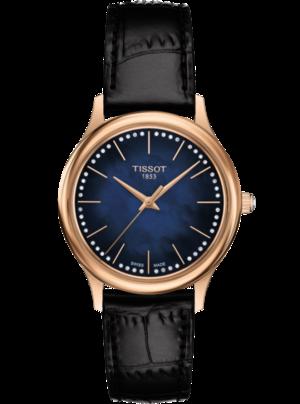 Damenuhr Tissot Excellence Quartz Lady 18k Gold mit Diamanten, blauem Zifferblatt und Armband aus Kalbsleder mit Krokodilprägung