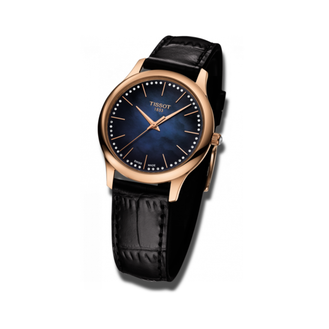 Damenuhr Tissot Excellence Quartz Lady 18k Gold mit Diamanten, blauem Zifferblatt und Armband aus Kalbsleder mit Krokodilprägung bei Brogle