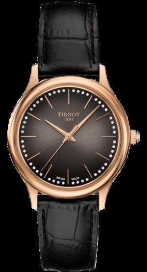Damenuhr Tissot Excellence Quartz Lady 18k Gold mit Diamanten, braunem Zifferblatt und Armband aus Kalbsleder mit Krokodilprägung