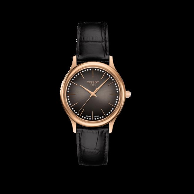 Damenuhr Tissot Excellence Quartz Lady 18k Gold mit Diamanten, braunem Zifferblatt und Armband aus Kalbsleder mit Krokodilprägung bei Brogle
