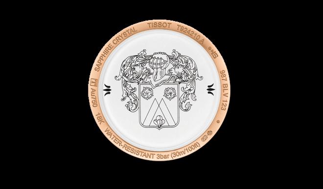 Damenuhr Tissot Fascination Lady Quartz mit perlmuttfarbenem Zifferblatt und Armband aus Kalbsleder mit Krokodilprägung