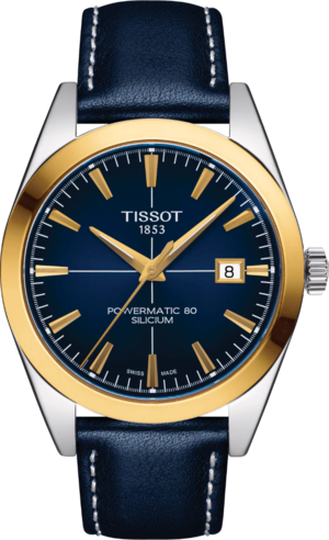 Herrenuhr Tissot Gentleman Automatic 40mm mit blauem Zifferblatt und Rindsleder-Armband
