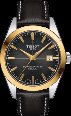 Herrenuhr Tissot Gentleman Automatic 40mm mit anthrazitfarbenem Zifferblatt und Rindsleder-Armband