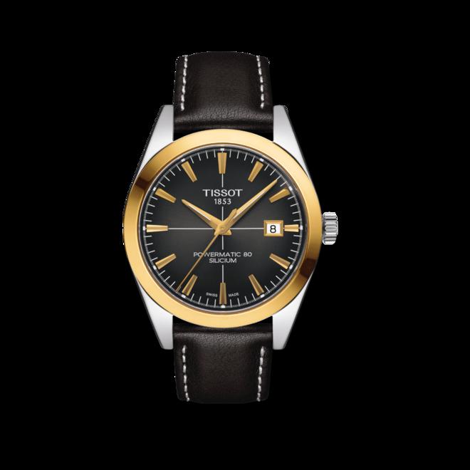 Herrenuhr Tissot Gentleman Automatic 40mm mit anthrazitfarbenem Zifferblatt und Rindsleder-Armband bei Brogle