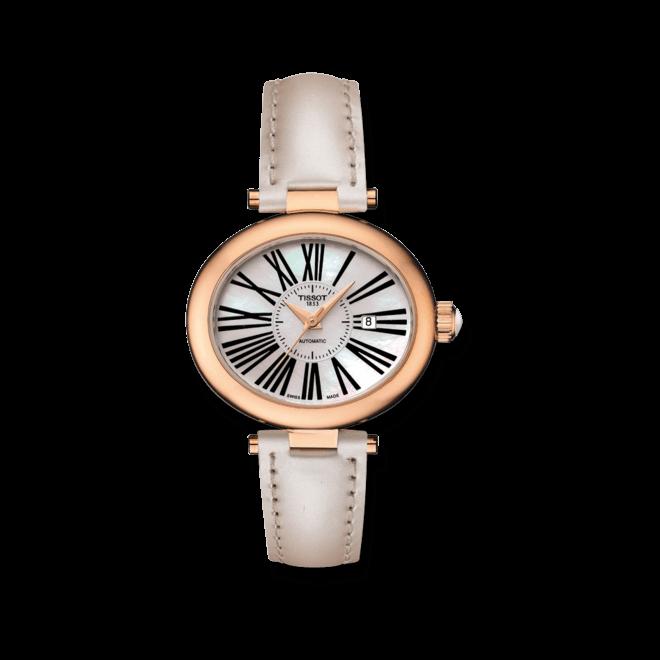Damenuhr Tissot Glamorous Automatic mit weißem Zifferblatt und Kalbsleder-Armband