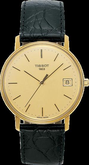 Herrenuhr Tissot Goldrun Hesalite mit champagnerfarbenem Zifferblatt und Rindsleder-Armband