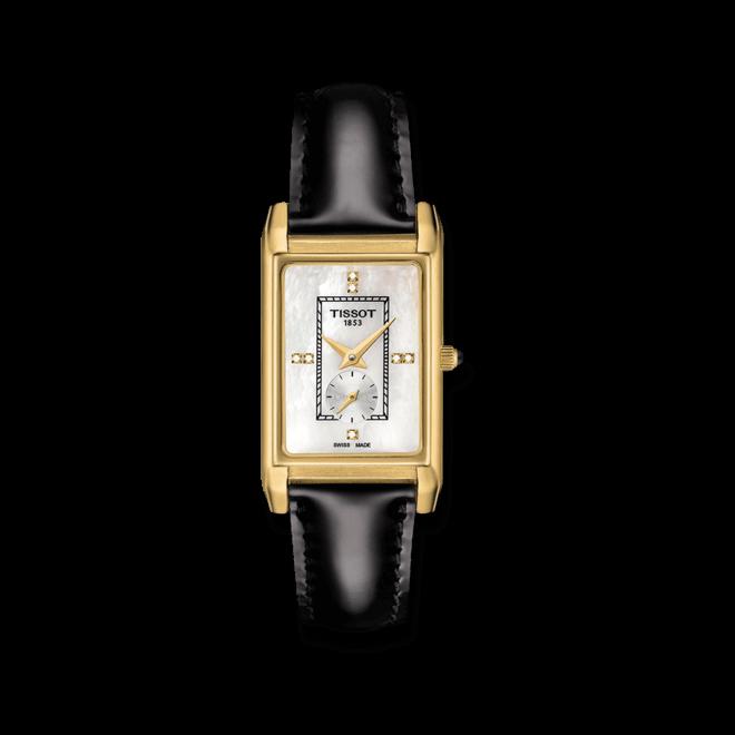 Damenuhr Tissot Prestigious mit Diamanten, perlmuttfarbenem Zifferblatt und Kalbsleder-Armband bei Brogle