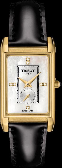 Damenuhr Tissot Prestigious mit Diamanten, perlmuttfarbenem Zifferblatt und Kalbsleder-Armband