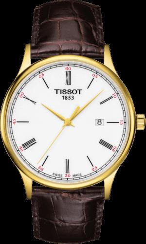 Herrenuhr Tissot Rose Dream Quartz Gent mit weißem Zifferblatt und Armband aus Kalbsleder mit Krokodilprägung