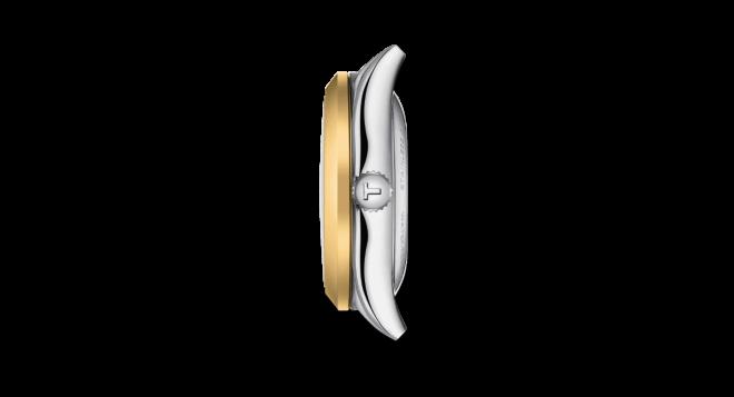 Damenuhr Tissot T-My Lady Automatic 18K Gold mit Diamanten, perlmuttfarbenem Zifferblatt und Edelstahlarmband bei Brogle