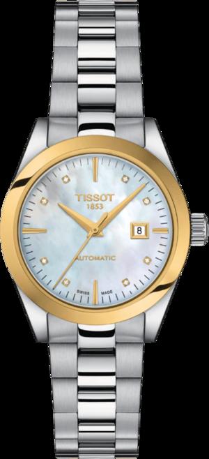 Damenuhr Tissot T-My Lady Automatic 18K Gold mit Diamanten, perlmuttfarbenem Zifferblatt und Edelstahlarmband