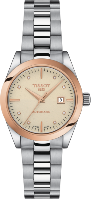Damenuhr Tissot T-My Lady Automatic 18K Gold mit Diamanten, cremefarbenem Zifferblatt und Edelstahlarmband