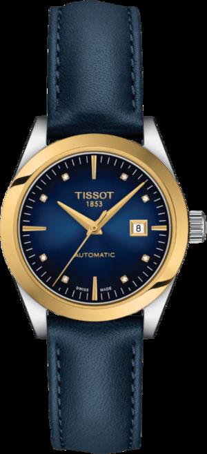 Damenuhr Tissot T-My Lady Automatic 18K Gold mit Diamanten, blauem Zifferblatt und Rindsleder-Armband