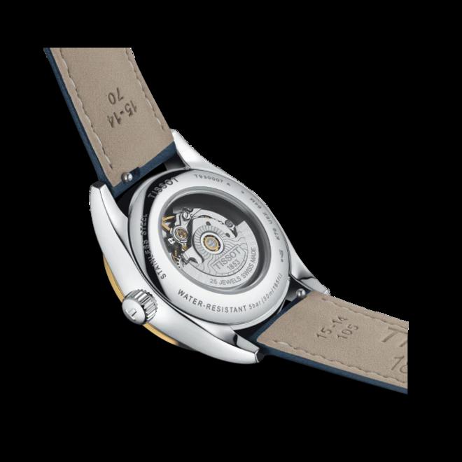 Damenuhr Tissot T-My Lady Automatic 18K Gold mit Diamanten, blauem Zifferblatt und Rindsleder-Armband bei Brogle