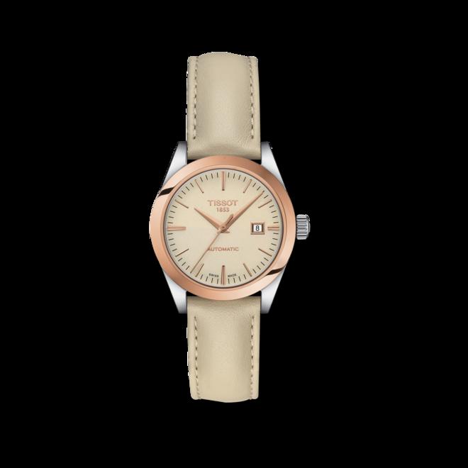 Damenuhr Tissot T-My Lady Automatic 18K Gold mit cremefarbenem Zifferblatt und Rindsleder-Armband bei Brogle