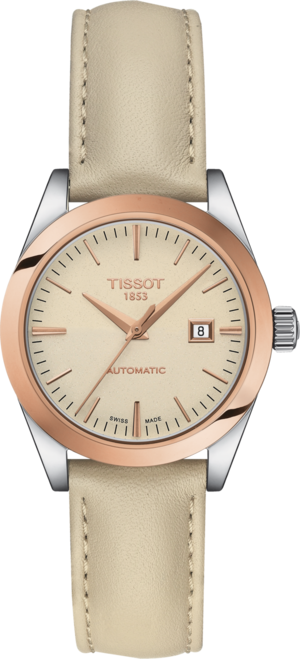 Damenuhr Tissot T-My Lady Automatic 18K Gold mit cremefarbenem Zifferblatt und Rindsleder-Armband