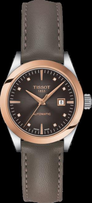 Damenuhr Tissot T-My Lady Automatic 18K Gold mit Diamanten, braunem Zifferblatt und Rindsleder-Armband