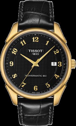 Herrenuhr Tissot Vintage Powermatic 80 Gent mit schwarzem Zifferblatt und Kalbsleder-Armband