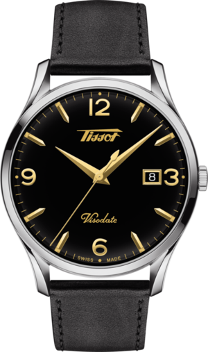 Herrenuhr Tissot Heritage Visodate Quartz mit schwarzem Zifferblatt und Rindsleder-Armband