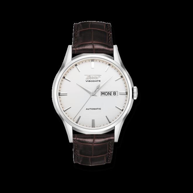 Herrenuhr Tissot Heritage Visodate Automatic mit silberfarbenem Zifferblatt und Kalbsleder-Armband bei Brogle