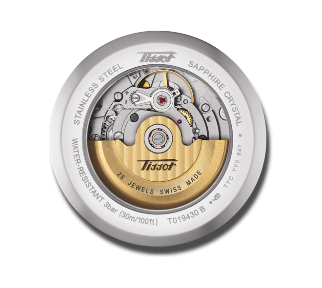 Herrenuhr Tissot Heritage Visodate Automatic mit silberfarbenem Zifferblatt und Kalbsleder-Armband