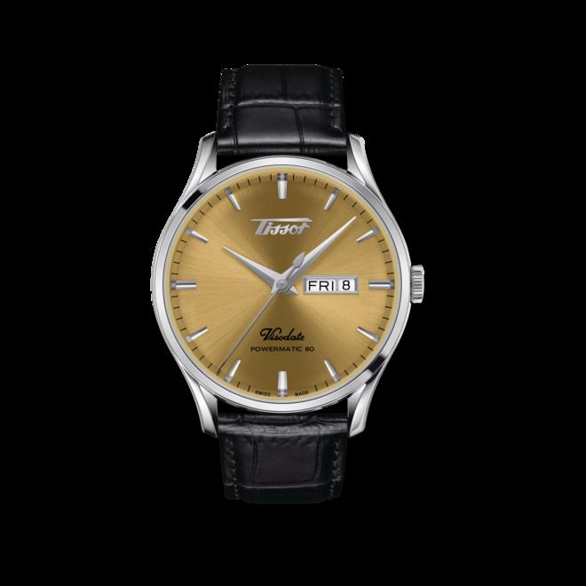 Herrenuhr Tissot Visodate Powermatic 80 mit gelbgoldfarbenem Zifferblatt und Rindsleder-Armband bei Brogle