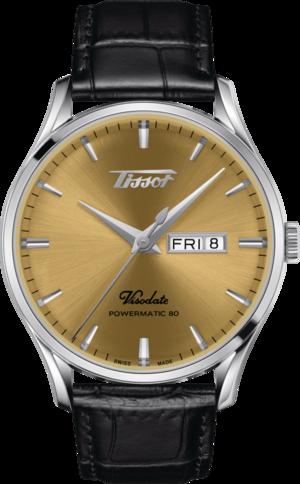 Herrenuhr Tissot Visodate Powermatic 80 mit gelbgoldfarbenem Zifferblatt und Rindsleder-Armband