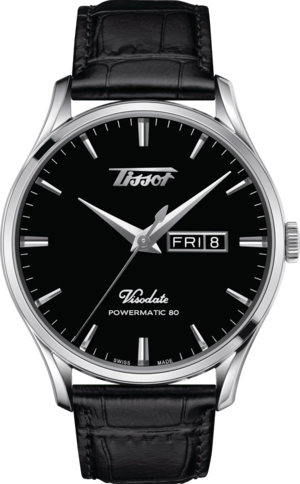 Herrenuhr Tissot Visodate Powermatic 80 mit schwarzem Zifferblatt und Rindsleder-Armband