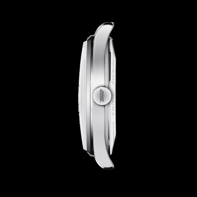 Herrenuhr Tissot Visodate Powermatic 80 mit schwarzem Zifferblatt und Rindsleder-Armband bei Brogle
