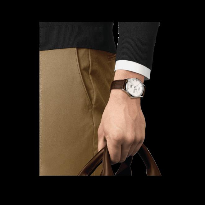 Herrenuhr Tissot Visodate Powermatic 80 mit Rindsleder-Armband bei Brogle