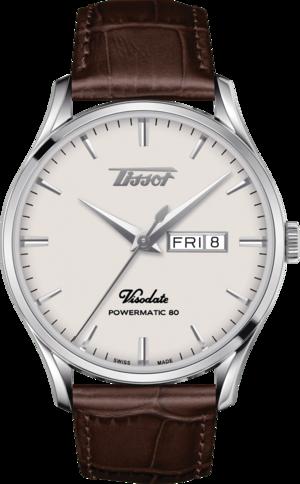 Herrenuhr Tissot Visodate Powermatic 80 mit Rindsleder-Armband