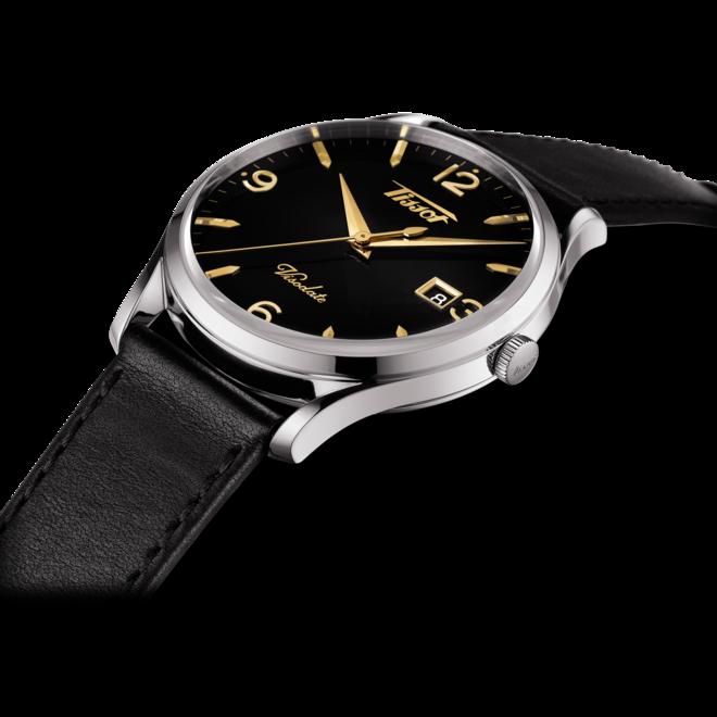 Herrenuhr Tissot Heritage Visodate Quartz mit schwarzem Zifferblatt und Rindsleder-Armband bei Brogle