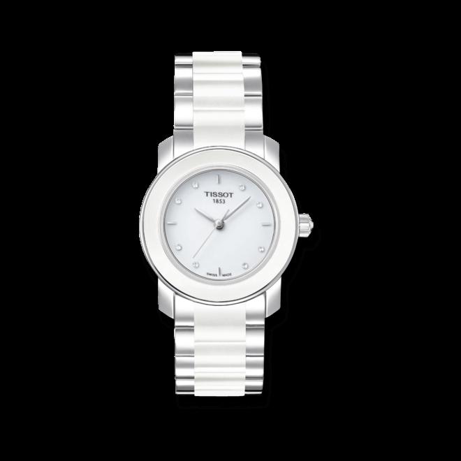 Damenuhr Tissot Cera mit Diamanten, weißem Zifferblatt und Edelstahlarmband