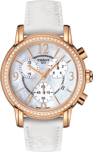 Damenuhr Tissot Dressport mit Diamanten, perlmuttfarbenem Zifferblatt und Kalbsleder-Armband