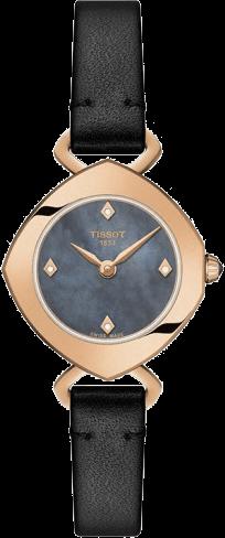 Damenuhr Tissot Femini-T mit Diamanten, grauem Zifferblatt und Kalbsleder-Armband