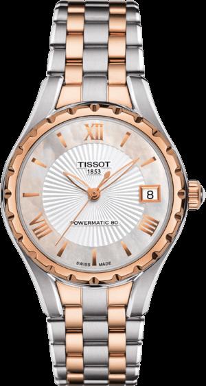 Damenuhr Tissot Lady 80 Automatic mit Diamanten, weißem Zifferblatt und Edelstahlarmband