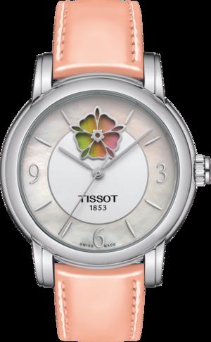 Damenuhr Tissot Lady Heart Flower Powermatic 80 mit perlmuttfarbenem Zifferblatt und Kalbsleder-Armband