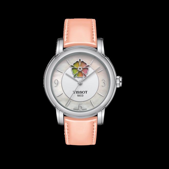 Damenuhr Tissot Lady Heart Flower Powermatic 80 mit perlmuttfarbenem Zifferblatt und Kalbsleder-Armband bei Brogle