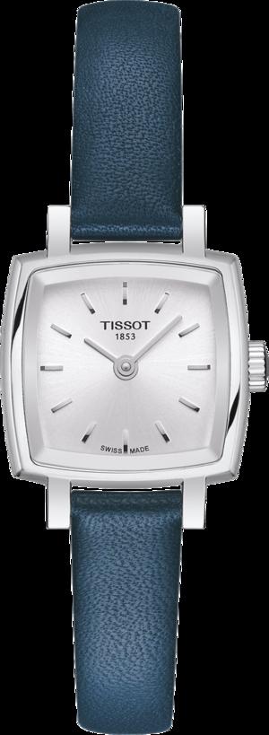 Damenuhr Tissot Lovely Square mit silberfarbenem Zifferblatt und Rindsleder-Armband