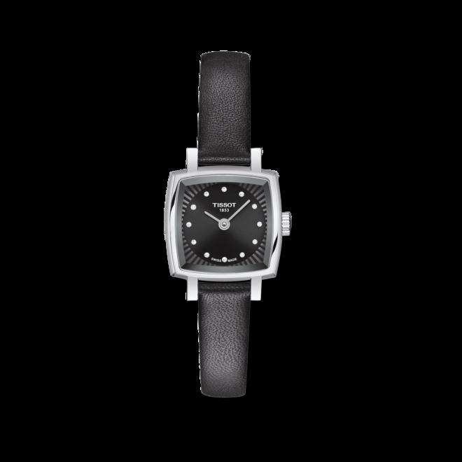 Damenuhr Tissot Lovely Square mit Diamanten, schwarzem Zifferblatt und Rindsleder-Armband bei Brogle