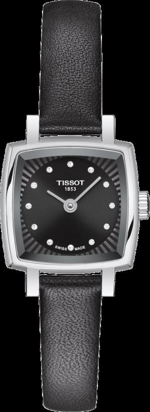 Damenuhr Tissot Lovely Square mit Diamanten, schwarzem Zifferblatt und Rindsleder-Armband