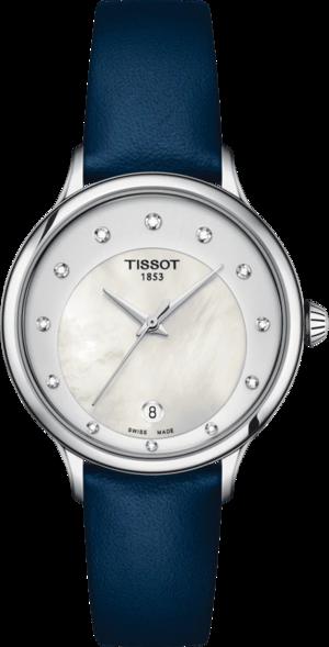Damenuhr Tissot Odachi-T mit Diamanten, perlmuttfarbenem Zifferblatt und Rindsleder-Armband