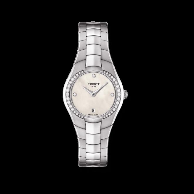Damenuhr Tissot T-Round mit Diamanten, weißem Zifferblatt und Edelstahlarmband