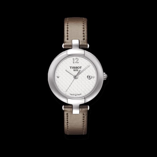 Damenuhr Tissot T-Trend Pinky mit weißem Zifferblatt und Kalbsleder-Armband